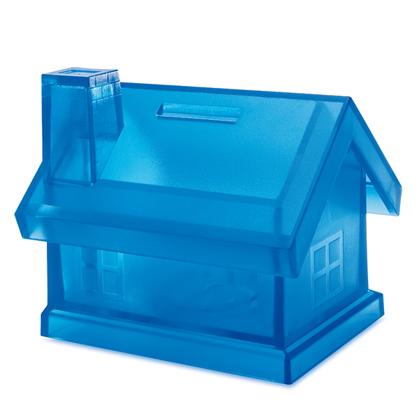Spardose als Haus (bedruckbar als Werbeartikel)