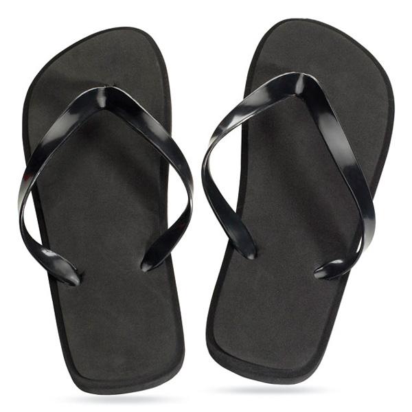 Zehensandalen schwarz (Sandalen bedrucken mit Firmenlogo)