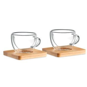 Set mit 2 doppelwandigen Espressogläsern mit Untersetzern aus Bambus