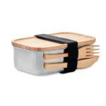 Lunchbox aus Edelstahl, Deckel, Messer und Gabel aus Bambus 600 ml - bedruckbar