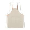 Küchenschürze mit verstellbarem Nackengurt und 2 Fronttaschen aus Organic Cotton/Leinen - bedruckbar