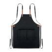 Küchenschürze mit verstellbarem Nackengurt und 2 Fronttaschen Organic Cotton/Leinen - bedruckbar