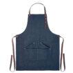 Küchenschürze mit verstellbarem Nackengurt und 3 Fronttaschen aus Denim mit Bindegurt aus Baumwolle - bedruckbar