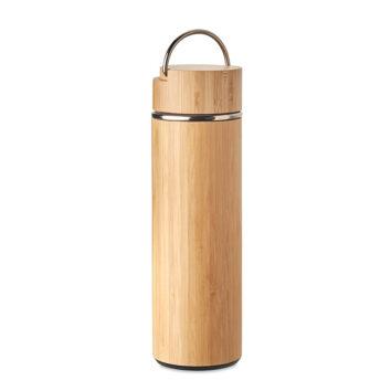 Doppelwandige Isolierflasche aus Edelstahl mit Bambus-Finish - bedruckbar