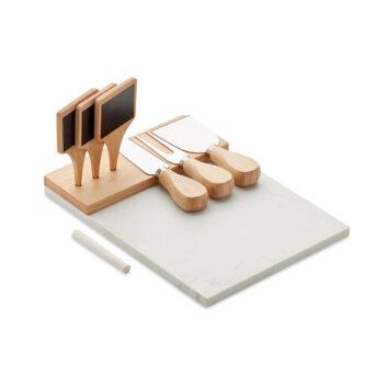 Käseplatte aus Marmor mit 3 Käsewerkzeugen aus Bambus und Edelstahl und 3 Appetizer-Markern - bedruckbar
