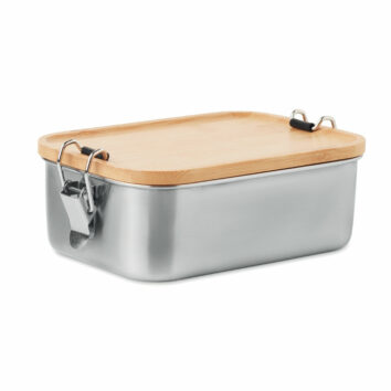 Lunchbox aus Edelstahl mit Deckel aus Bambus und Halteklammern - bedruckbar