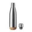 Doppelwandige Isolierflasche aus Edelstahl mit einem in Kork abgesetzten Boden - bedruckbar