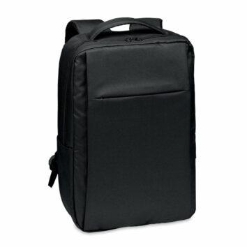 Laptop Rucksack aus 300D RPET Polyester inklusive USB-Typ-A-Anschluss und Kabel zum Laden mobiler Geräte - bedruckbar