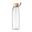 Glasflasche mit Verschluss aus Bambus und Schlaufe aus TPU - bedruckbar