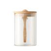 Aufbewahrungsglas aus Borosilikat mit Verschluss und Löffel aus Bambus - bedruckbar