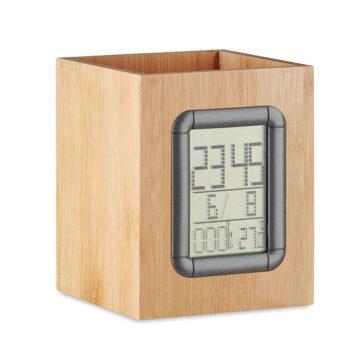 Stiftehalter aus Bambus mit digitaler Zeit-, Alarm-, Kalender- und Temperaturanzeige - bedruckbar