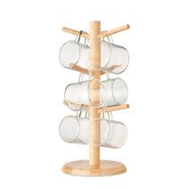 Tassenbaum aus Bambus mit 6 Bechern aus Borosilikatglas - bedruckbar
