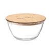 Kleines Aufbewahrungsglas aus Borosilikat mit Deckel aus Bambus und einem Silikonband - bedruckbar