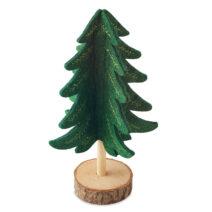 Dekorativer Tannenbaum aus Filz mit Holzsockel - bedruckbar