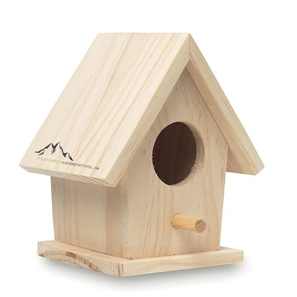 kleines vogelhaus aus holz bedruckbar als werbetr ger m nchen. Black Bedroom Furniture Sets. Home Design Ideas